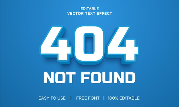 404 not found editable text effect with premium vector