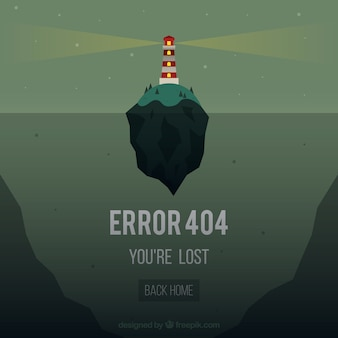 404 ошибка веб-шаблон с маяком islandin плоский стиль