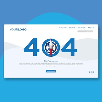 404 landing page flat website design