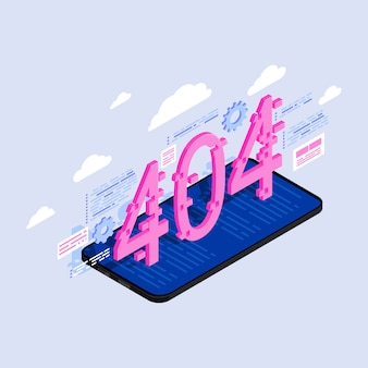 404 numbers on smartphone screen isometric illustration.