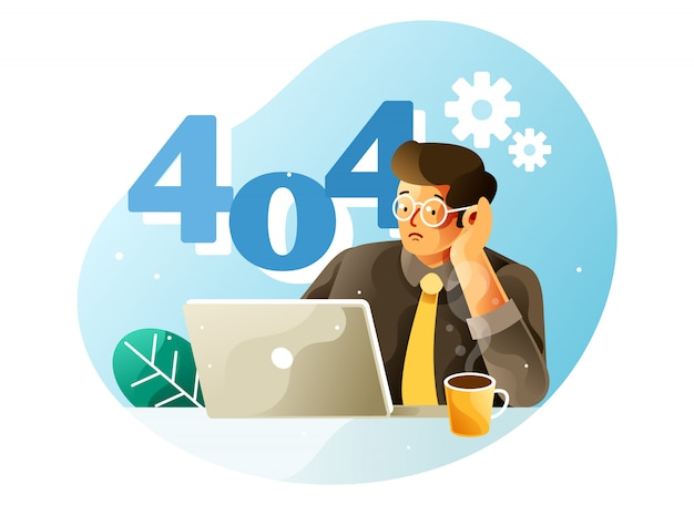 404 page error concept - an employee tired illustration