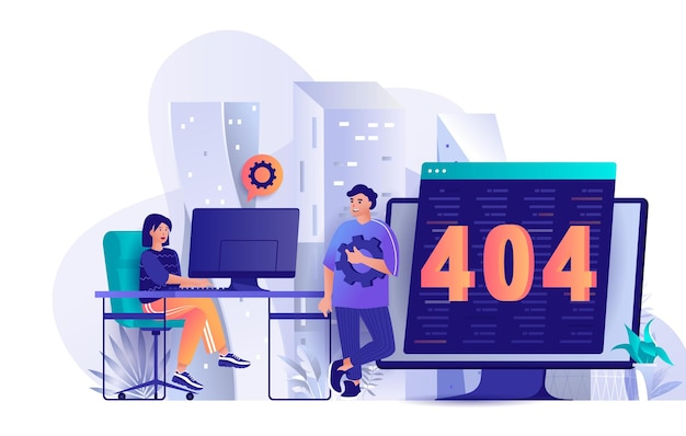 404 page error flat design concept illustration of people characters
