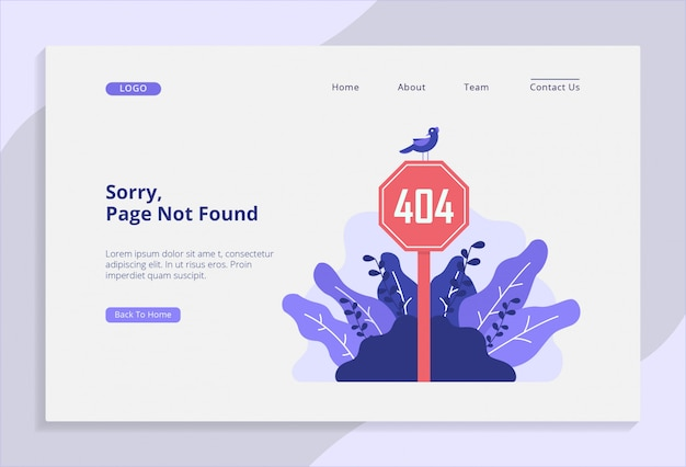 404 page not found landing page with vector illustration