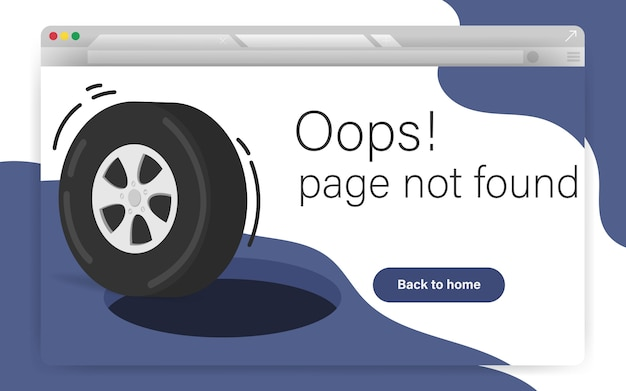 404 site page is not found concept. error failure landing page for website error/website is under construction. hold on road with wheel while getting into it.