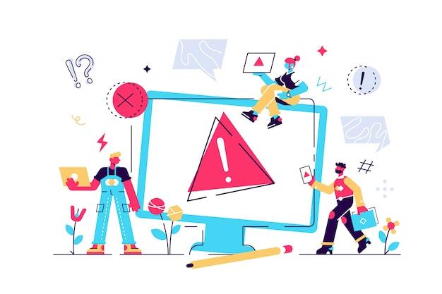 コンセプトオペレーティングシステムエラー警告。 404エラーwebページの図、エラー警告ウィンドウのオペレーティングシステム。 webページ、バナー、プレゼンテーション、ソーシャルメディア、ドキュメント、ポスターのベクトル。