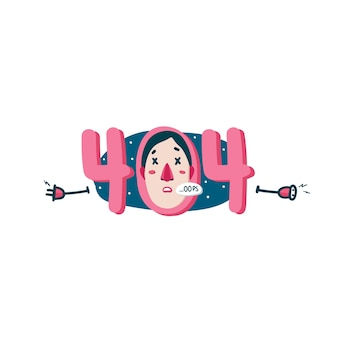 404エラーのwebページの漫画のイラスト