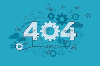 404 website banner concept with thin line flat design