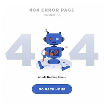 404 страница ошибки не найдена дизайн с разбитым роботом