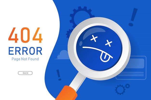404エラーページは、ウェブサイトの虫眼鏡グラフィックデザインテンプレートでベクトルが見つかりません
