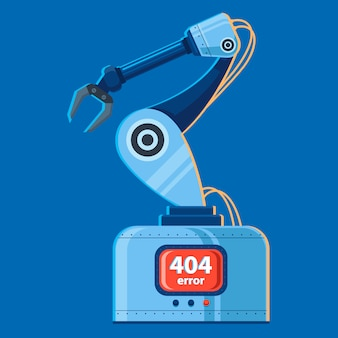 Векторная иллюстрация руки робота, которая сломалась. ошибка 404.