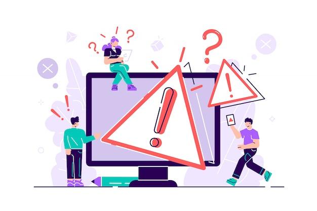 Концепция операционной системы предупреждение. 404 ошибка иллюстрации веб-страницы