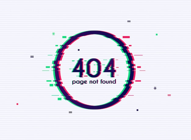 Ошибка с эффектом сбоя на экране. ошибка 404 - страница не найдена.