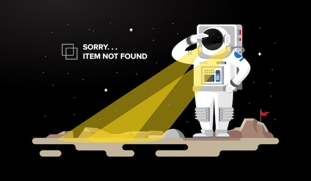 Астронавт ищет 404 не найден иллюстрации концепции