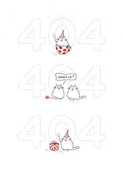 Мультяшный забавный котик на странице 404
