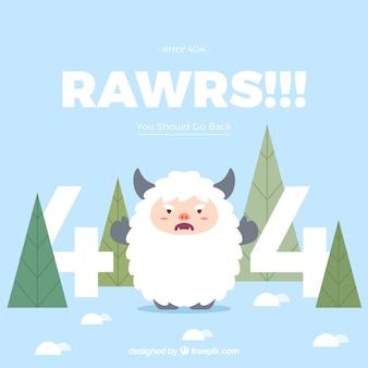 404 концепция ошибки с разгневанными овцами