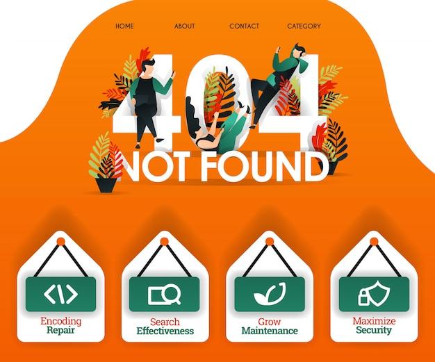 404 обнаружил оранжевую ошибку веб-концепции