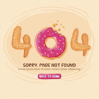 404 ошибка дизайна с пончиком