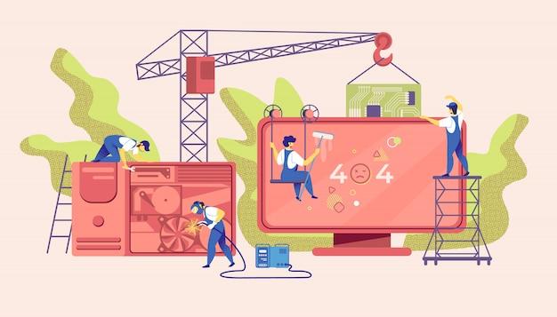 Ошибка 404 на огромном экране компьютера. крошечные рабочие
