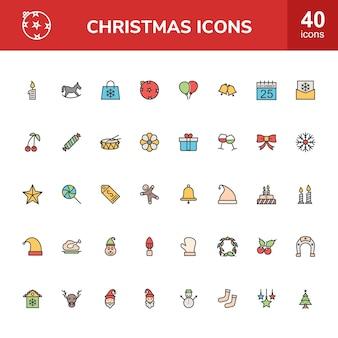 40 рождественская линия заполненные иконки