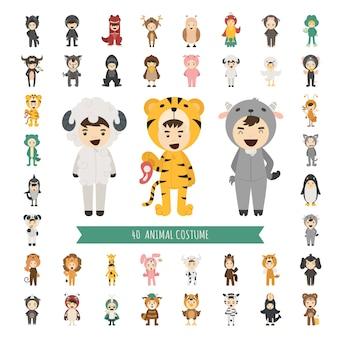 40匹の動物の衣装のキャラクターのセット