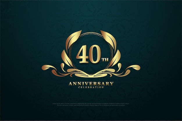40th anniversary background with light gold numbers and symbols.