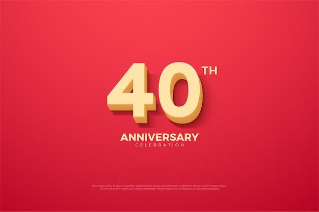40-летие фон с числами с использованием мультяшного шрифта.