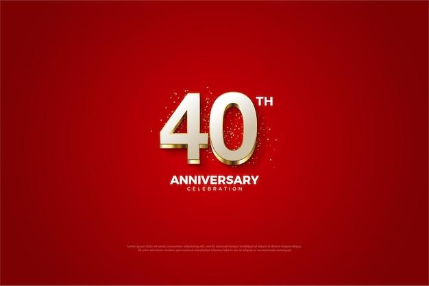 白い数字と赤い背景の40周年記念の背景。