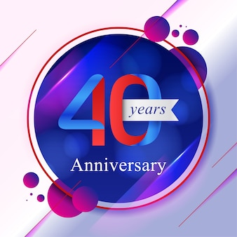 40th anniversary bokeh background with vibrant colors