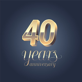 40th anniversary. golden calligraphic lettering for 40 years anniversary birthday.
