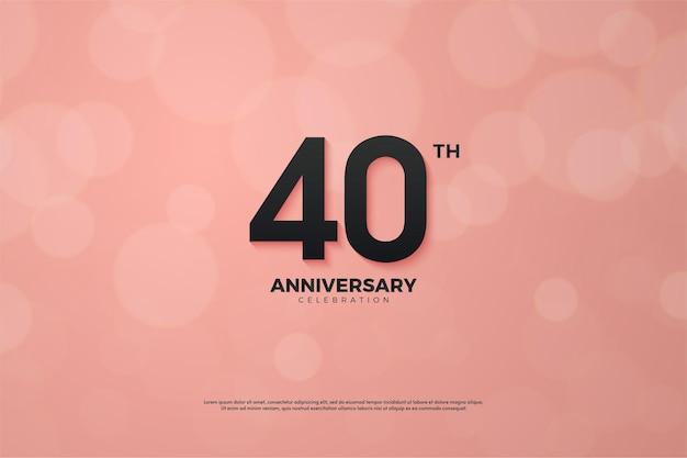 검은 숫자가있는 40 주년 기념 분홍색 배경