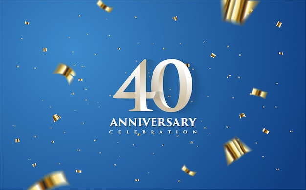 40th anniversary with white numbers on a blue background.