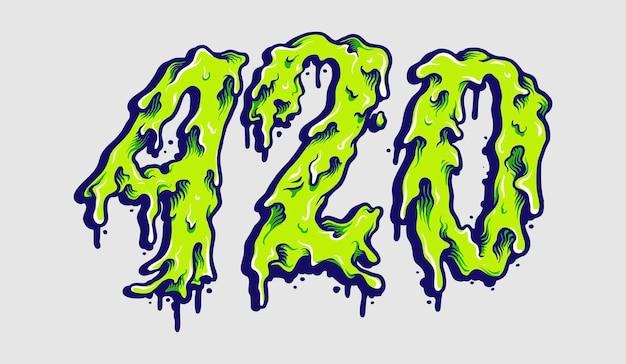 420 cannabis melt typeface illustrations