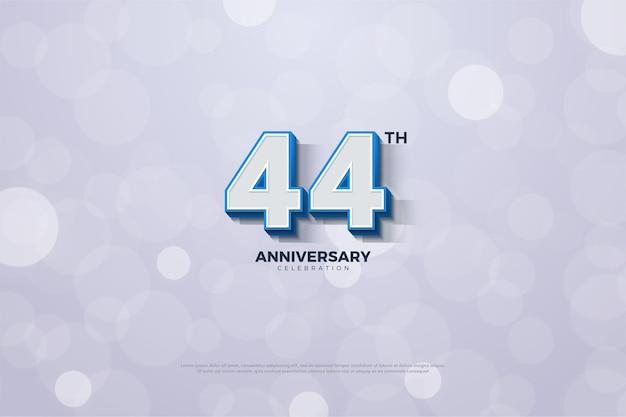 3d数字と青い境界線を持つ44周年