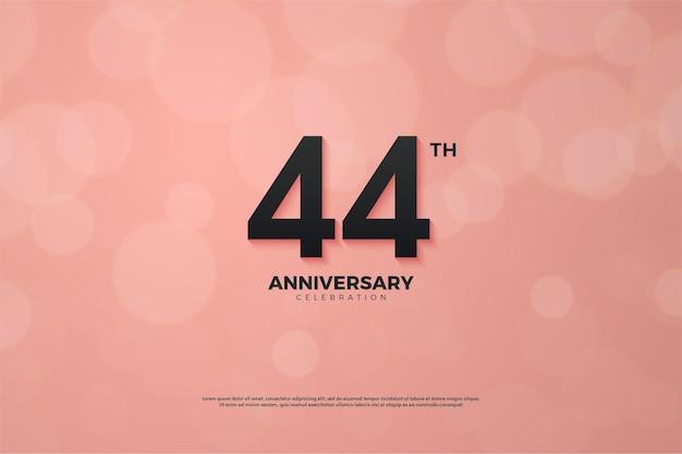 ピンクに黒の数字で44周年