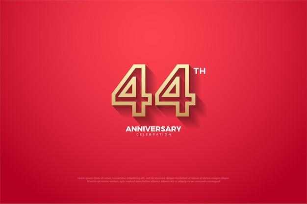 赤に茶色の縞模様の44周年