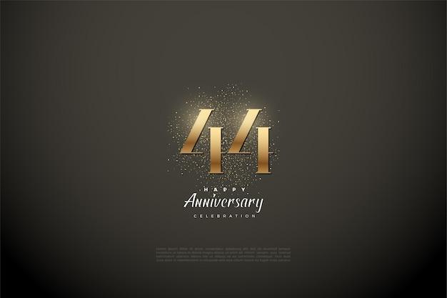 44-я годовщина с числами и золотым блеском на черном фоне
