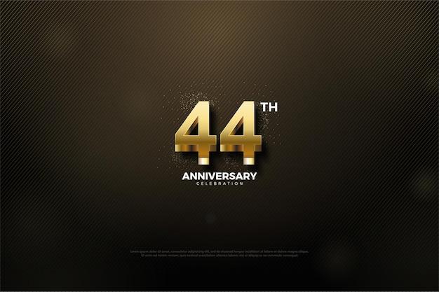 光沢のあるゴールドの数字で44周年