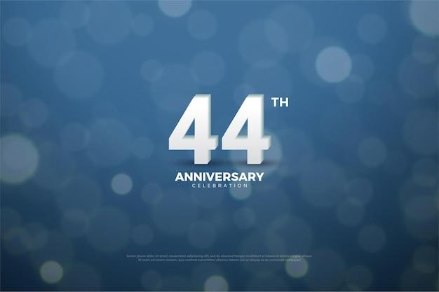 ネイビーブルーに白い数字で44周年