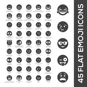 45 flat emoji icons