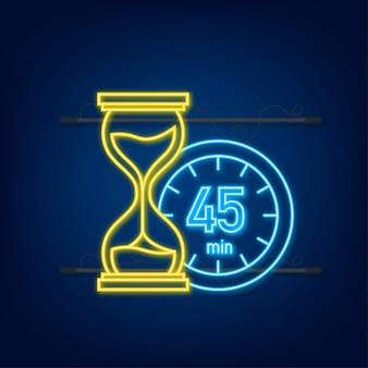 The 45 minutes, stopwatch vector neon icon. stopwatch icon in flat style, timer on on color background. vector illustration.