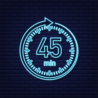 The 45 minutes stopwatch vector neon icon stopwatch icon in flat style