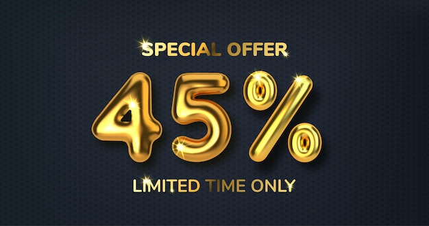 Скидка 45 на рекламную распродажу из реалистичных 3d золотых шаров