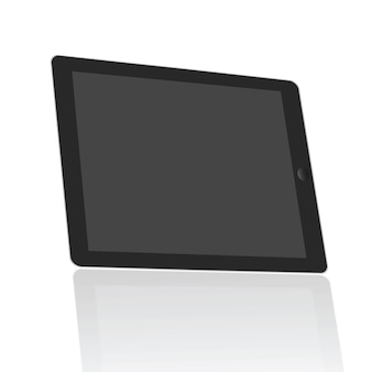 現実的なタブレットの空白の画面を45度に設定すると、白い背景に分離します。