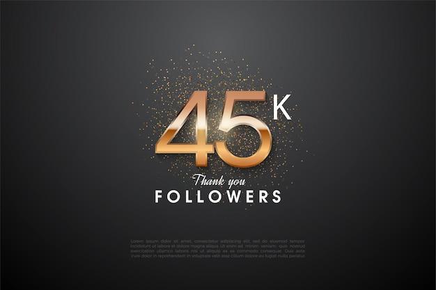 45k последователь со светящейся цифрой посередине.