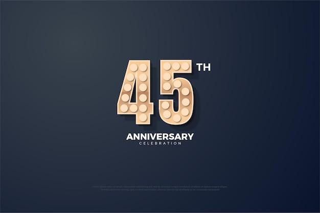 45-летие с легкой текстурой, образующей цифры.