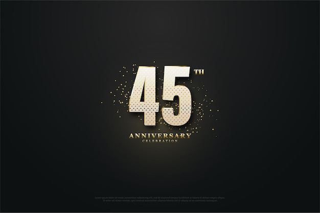 45th anniversary with numbers and glitter effect behind it.