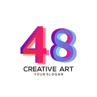 48 숫자 로고 그라데이션 디자인 화려한