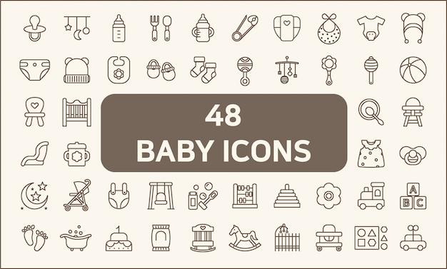 48の赤ちゃんと子供のアイコンラインスタイルのセット。おもちゃ、哺乳瓶、哺乳瓶、おむつ、おむつ、モバイル、衣類、靴下などのアイコンが含まれています。色、ストローク幅の制御、簡単なサイズ変更をカスタマイズします。