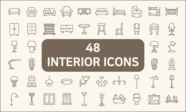 48のインテリアと照明のラインスタイルのセット。イルミネーション、フロアランプ、キャンドル、家の装飾、シャンデリア、ライト、家具、ベッド、椅子などのアイコンが含まれています。