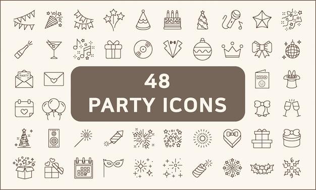 48のパーティーや休日のアイコンラインスタイルのセット。風船、誕生日、音楽、花火、ギフト、装飾などのアイコンが含まれています。